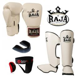 RAJA: THAIBOXNINGSPAKET - VIT (medium, large, 14oz)